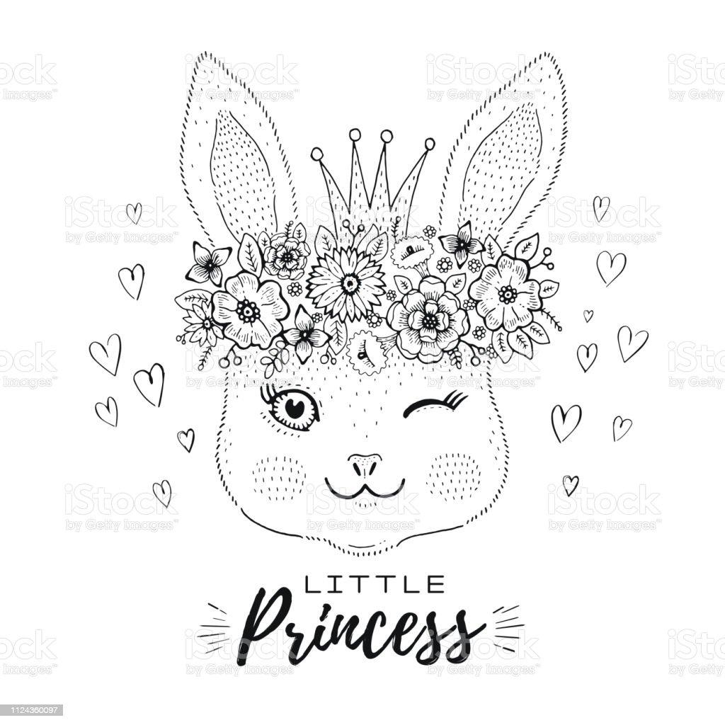 Ilustracion De Kawaii Cute Bunny Conejo Cara Princesa Corona