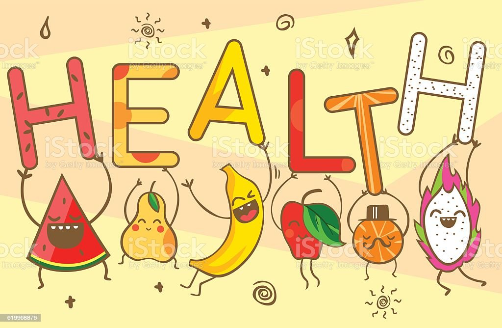 Cute Kawaii Cartoon Fruits Carry Health Lettering Healthy Food ...