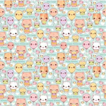 Cute Kawaii Cats and Cupcakes Birthday Background