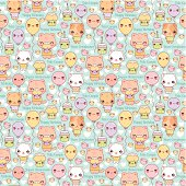 Cute Kawaii Cats and Cupcakes Birthday Party, seamless repeating background. Layered and groupped, 300dpi 25x25cm jpg included. Eps 8, no transparency nor gradients used. More related illustrations: