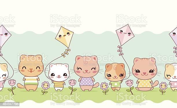 Cute kawaii cats seamless border vector id464347795?b=1&k=6&m=464347795&s=612x612&h=teoeuxu1eopvszgwawfelvk4 jdw1 j2 zbdgrugnks=
