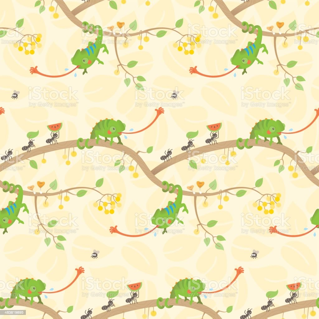 Cute kawaii chameleon pattern light vector art illustration