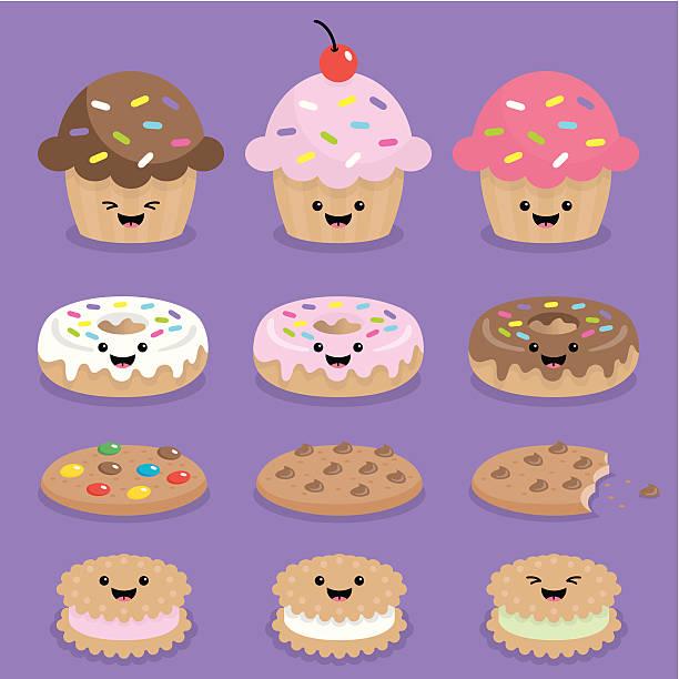 Cute kawaii cupcake, donuts and cookies  cupcake stock illustrations