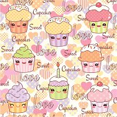 Kawaii cupcake pattern, seamless repeating. Layered and groupped, high res. jpg incl. Please see more related illustrations: