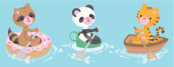 Cute kawaii donut teacup boat