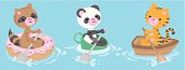 Cute animals in different kinds of boats. Vector RGB file. Easy to edit colors, objects are grouped and in separate layers. Included in the download is a high quality .jpeg file of 4940 x 1900 pixels (300 dpi).