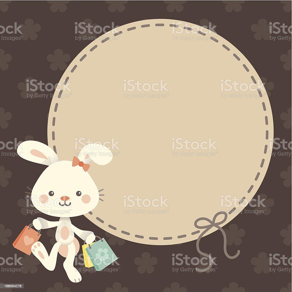 Cute kawaii Easter bunny shopping label vector art illustration