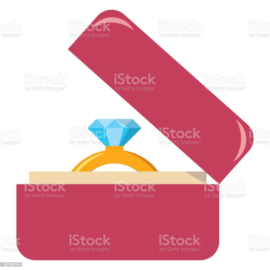 kawaii lindo anillo de compromiso caja colores aislada - ilustración de arte vectorial