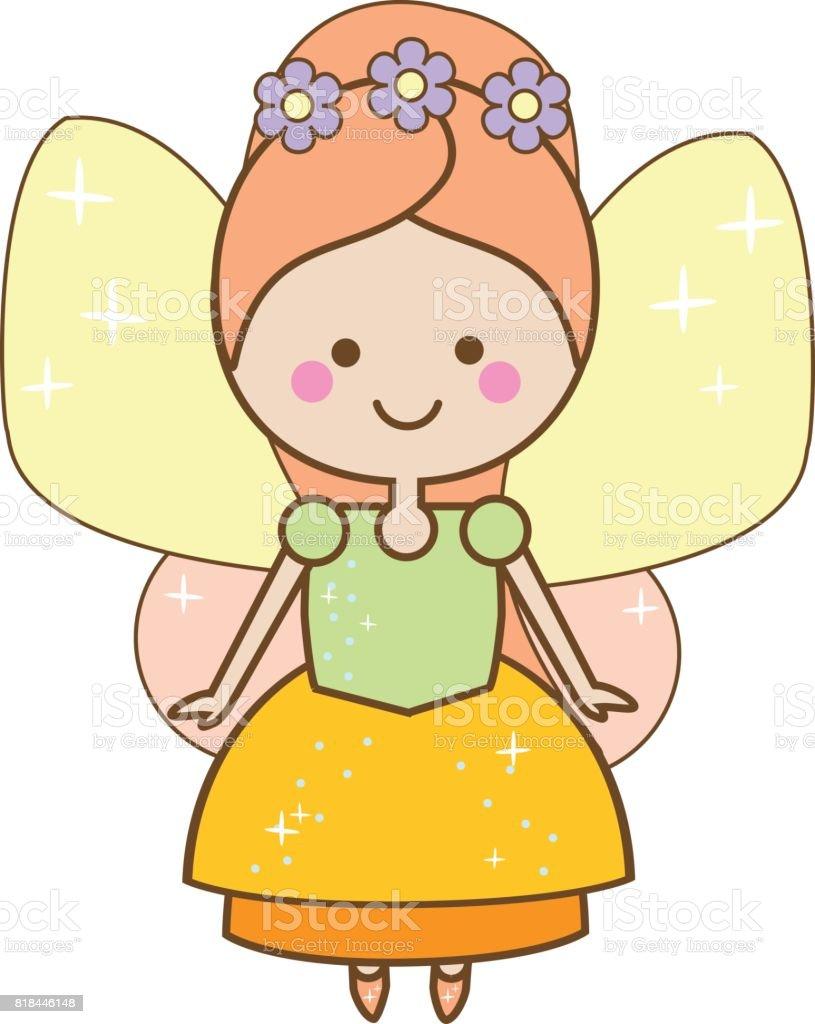 cute kawaii fairy character winged pixie princess in beautiful