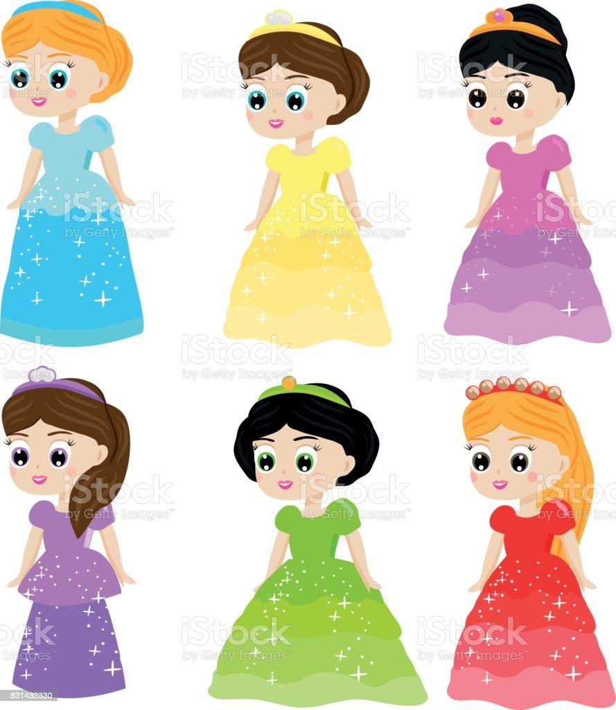 Vetores De Princesa De Conto De Fadas Bonito Kawaii Em Vestidos