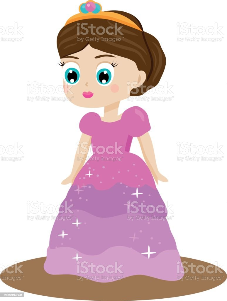 Ilustración de Princesa De Cuento De Hadas Lindo Kawaii En Vestido ...