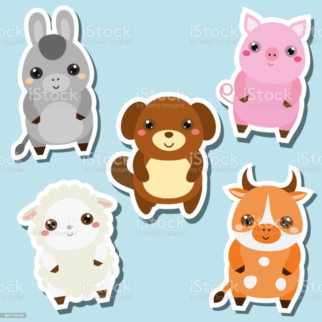 Image of: Puppy Cute Kawaii Farm Animals Stickers Set Vector Illustration Pig Dog Sheep Istock Cute Kawaii Farm Animals Stickers Set Vector Illustration Pig Dog