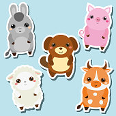 Cute kawaii farm animals stickers set. Vector illustration. Pig, dog, sheep, cow
