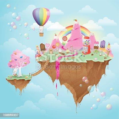 istock Cute kawaii floating Candy Island 158889337