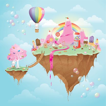 Cute kawaii floating Candy Island