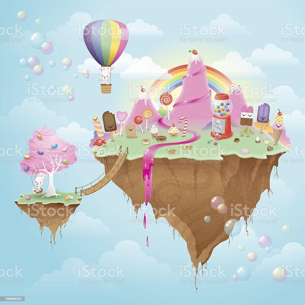 Mignon complètement kawaii Île flottante Candy - Illustration vectorielle