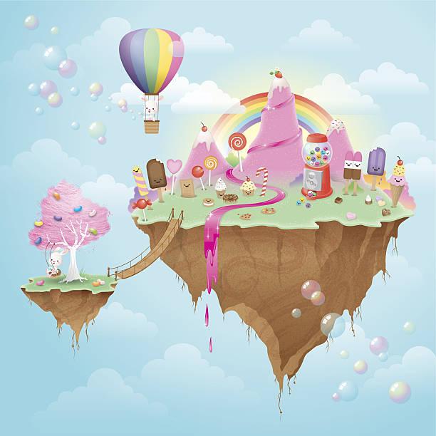 Cute kawaii floating Candy Island vector art illustration
