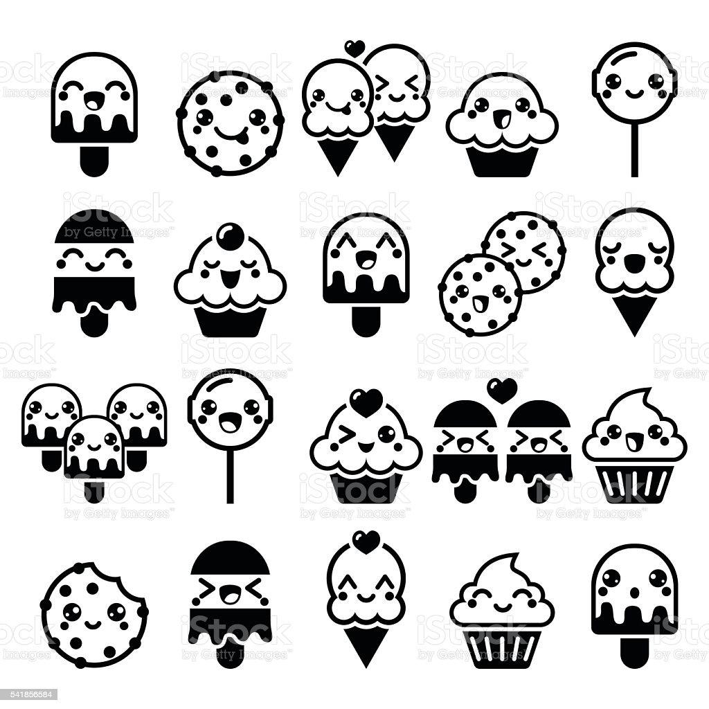 Cute Kawaii Food Characters Cupcake Icecream Cookie