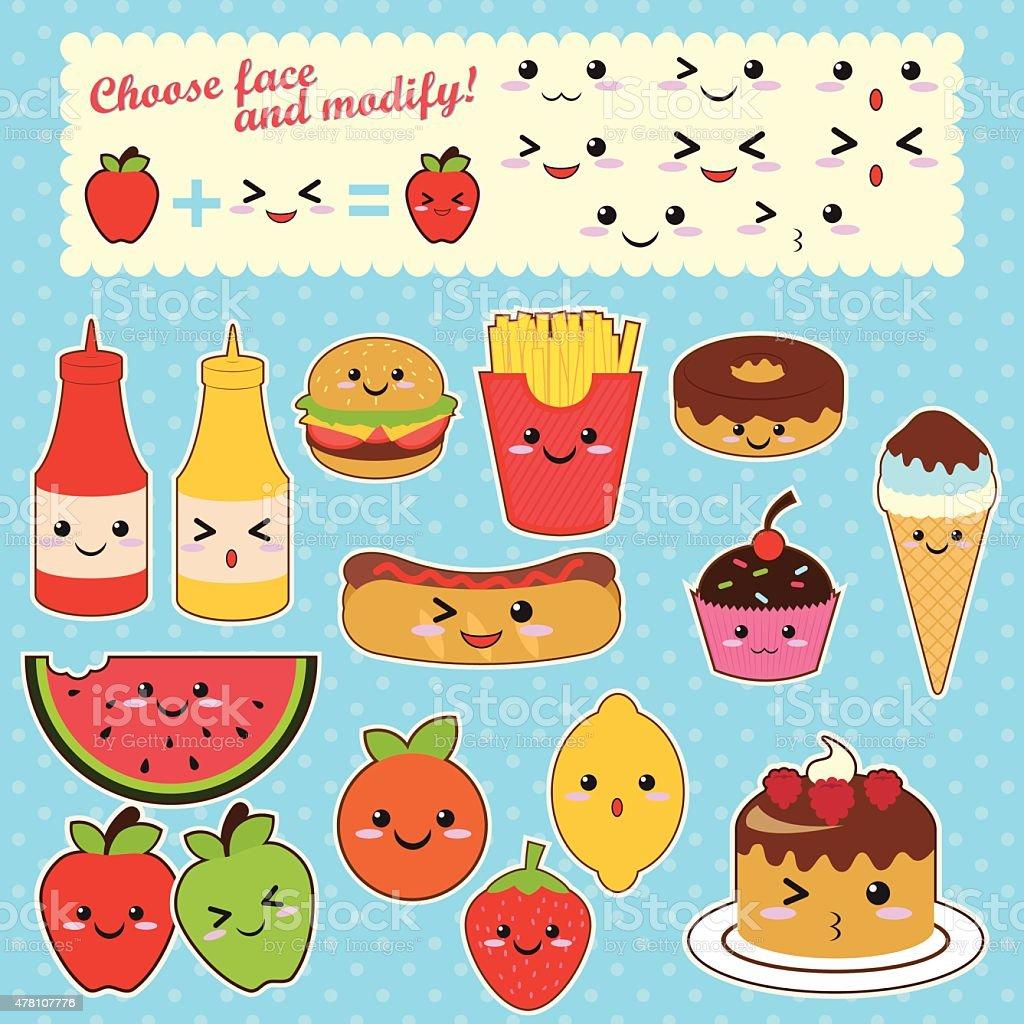 Carina Kawaii Cibo Caratteri Fast Food Dolce Alla Frutta Immagini