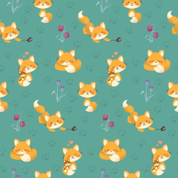 Cute kawaii fox pattern teal vector art illustration