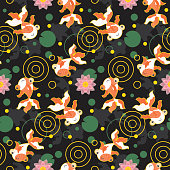 Cute kawaii goldfish pond pattern black