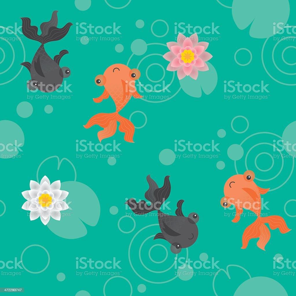 Cute kawaii goldfish pond pattern green vector art illustration