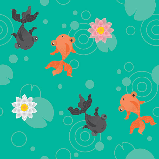 süße kawaii goldfisch pond muster grün - seerosenteich stock-grafiken, -clipart, -cartoons und -symbole