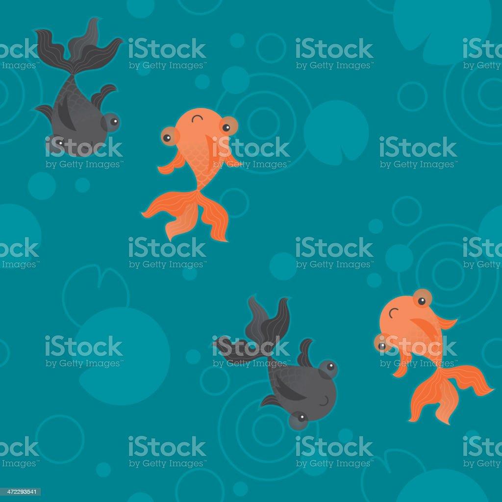 Cute kawaii goldfish pond pattern teal vector art illustration