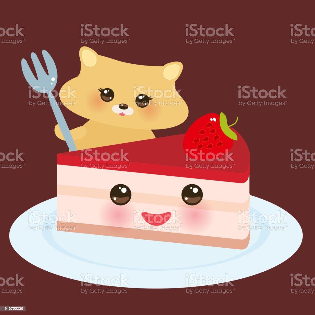 Ilustracion De Cute Kawaii Hamster Con Tenedor Dulce Pastel Decorado