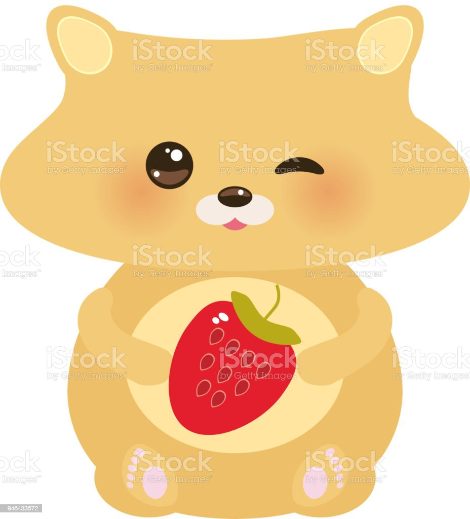 Image of: Narwhal Cute Kawaii Hamster With Fresh Strawberry Pastel Colors On White Background Vector Illustration Wikihow Cute Kawaii Hamster With Fresh Strawberry Pastel Colors On White
