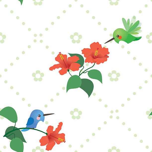 Cute kawaii hummingbird hibiscus pattern vector art illustration