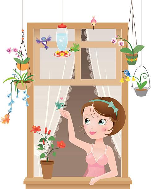 Cute kawaii hummingbirds window girl vector art illustration
