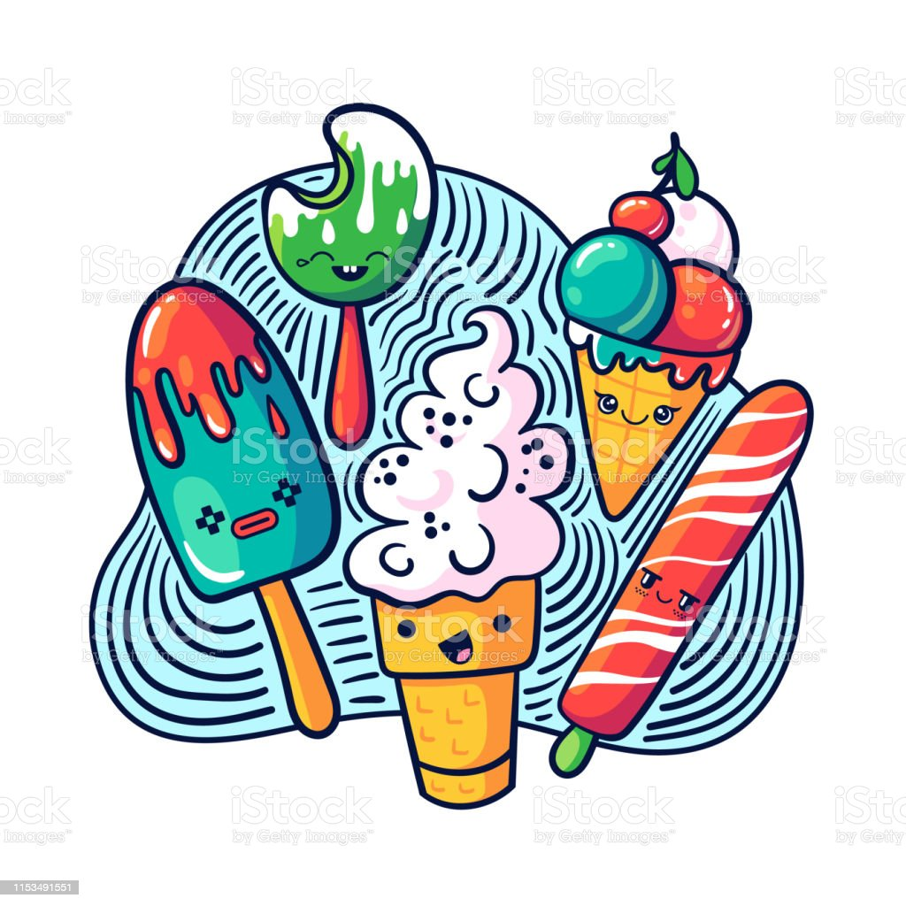 Cute Kawaii Ice Cream Set In Doodle Style Stock Illustration Download Image Now Istock