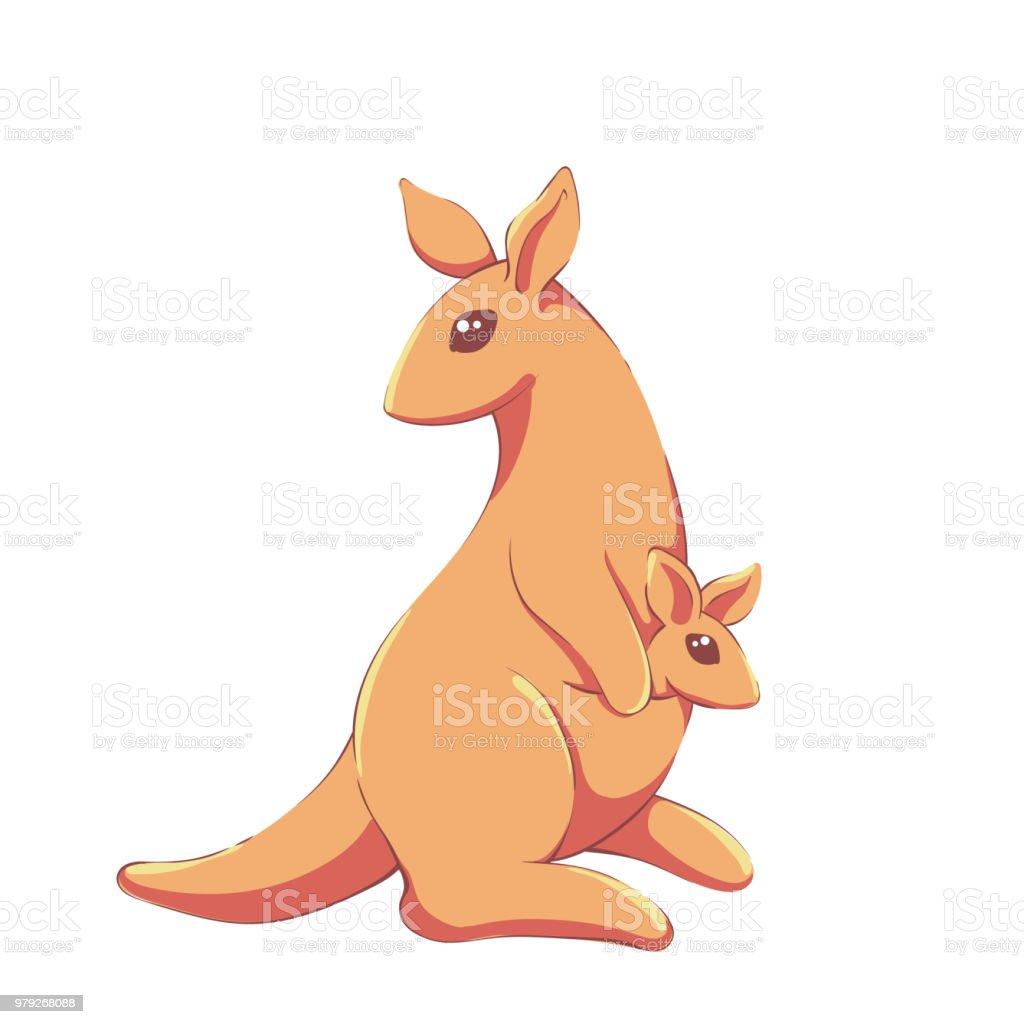 Cute Kawaii Kanguru Familie Lizenzfreies Stock Vektor Art Und Mehr Bilder Von