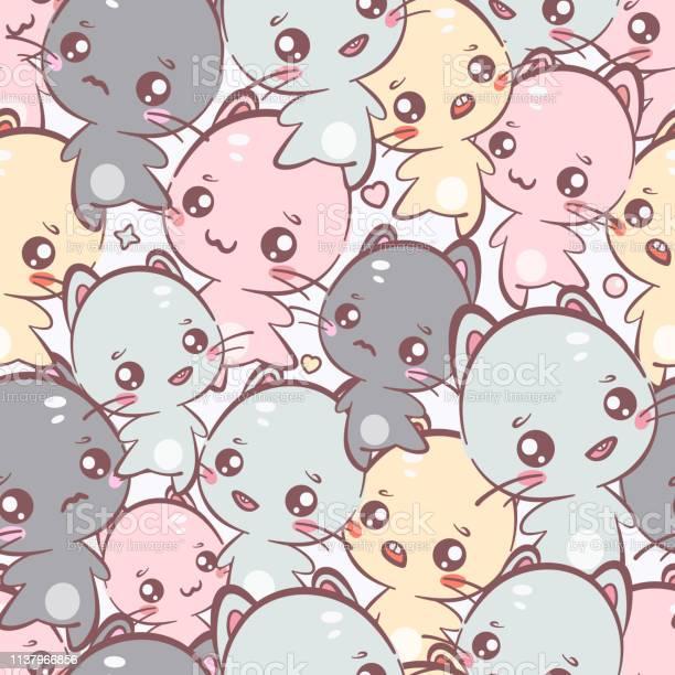 Cute kawaii kittens seamless pattern vector background it can be used vector id1137966856?b=1&k=6&m=1137966856&s=612x612&h=bq3wnfazyxvsuv9x9es6kq c dmxbasefg0ihb0fjiu=