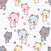 Cute kawaii kittens seamless pattern. Vector background. It can be used as wallpaper, desktop, card, apparel design, printing, wrapping, fabric or background for your blog, covers and your design.