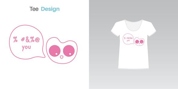 Cute kawaii kitty character for tee print
