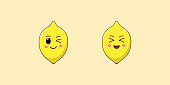 Cute Kawaii Lemon, Cartoon Citrus Fruit. Vector