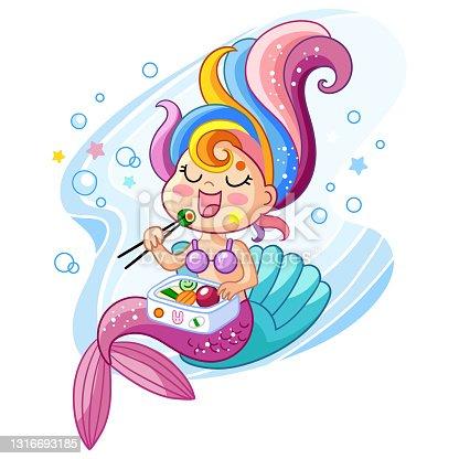 Cute kawaii mermaid eating sushi vector cartoon illustration