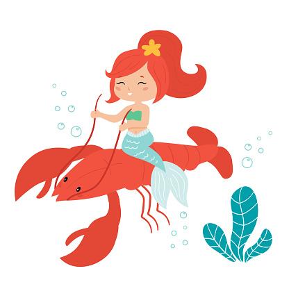 Cute kawaii mermaid rides on the lobster.