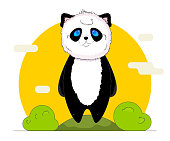 Cute kawaii panda with nature background in cartoon style.