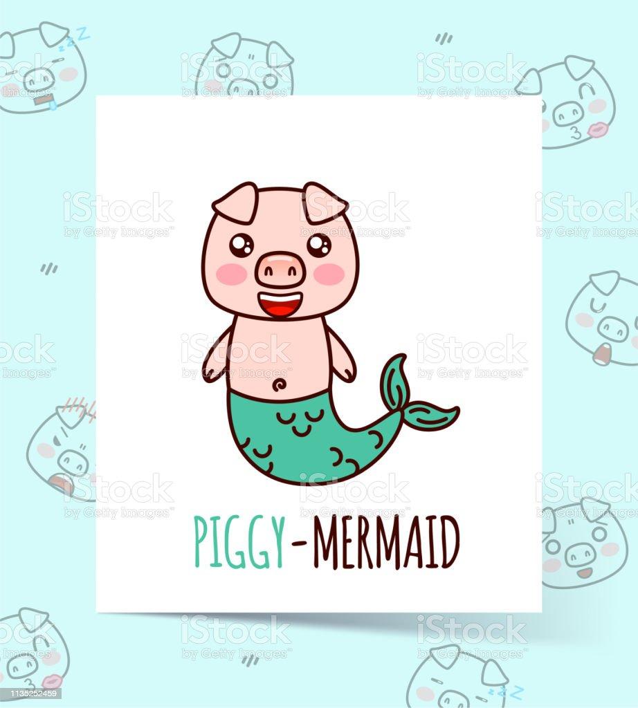 Mignon Kawaii Piggysirène Peut être Utilisé Pour Imprimer