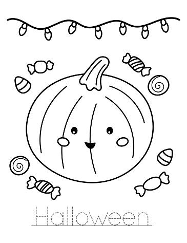 Cute kawaii pumpkin with sweets.