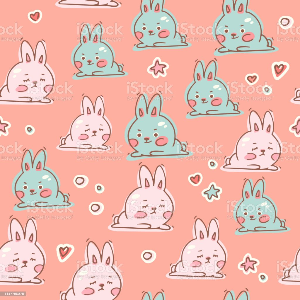 Cute Kawaii Rabbits Seamless Pattern Vector Background It Can Be