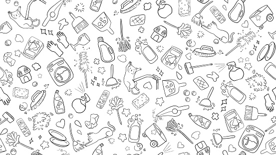cute kawaii seamless black and white doodle background of household cleaning item icon collection