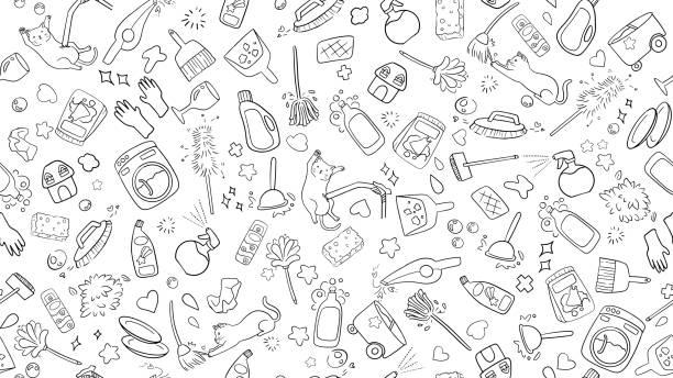 かわいい可愛い家のクリーニングアイテムのアイコンコレクションのシームレスな黒と白の落書きの背景 - 楽しい 洗濯点のイラスト素材/クリップアート素材/マンガ素材/アイコン素材