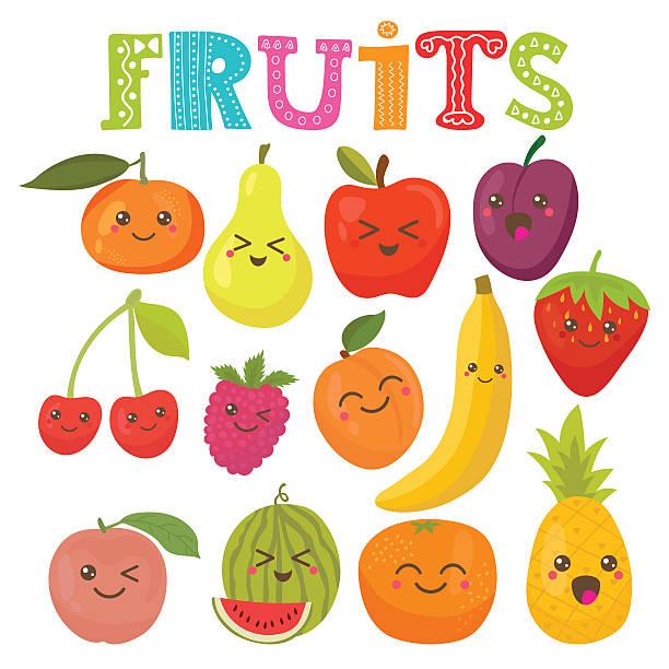 illustrazioni stock, clip art, cartoni animati e icone di tendenza di sorridente carina kawaii frutta. sano stile collezione - pesche bambino