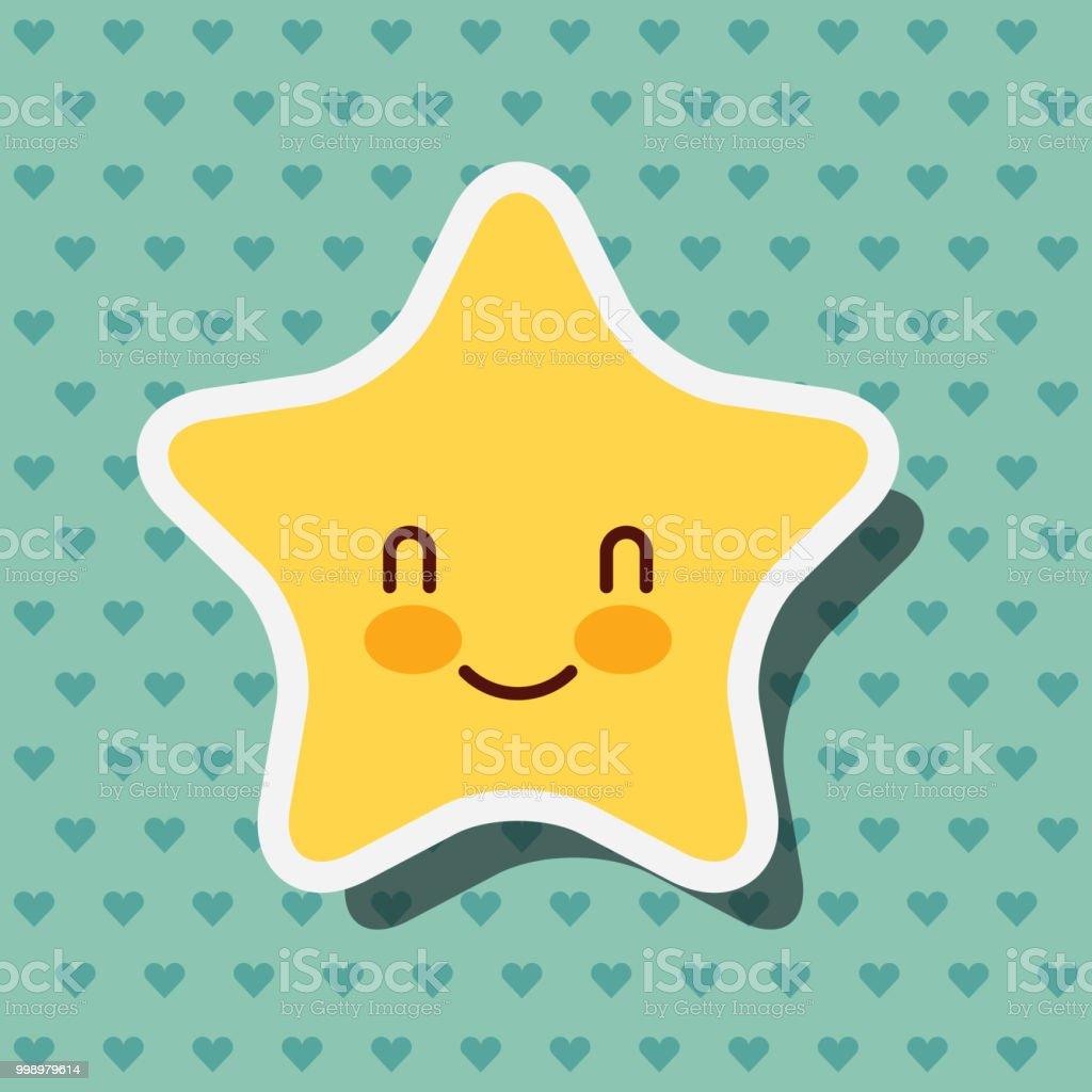cute kawaii star smile hearts background vector art illustration