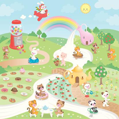 Cute kawaii sweet candy paradise and animals