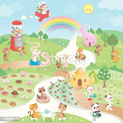 Candyland is a lovely place; where candy, cookies, cupcakes and other sweet goodies grow in fields and trees. Houses have funny shapes and rivers are made of sweet milk. The cute little animals who live here are having fun and sharing their happiness with each other every day. A true paradise...